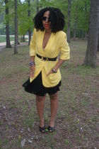 yellow vintage blazer - black Steve Madden shoes - H&M skirt