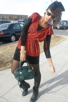 red Forever21 blouse - black vintage dress - green vintage purse