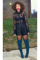 black vintage shorts - black Bebe shirt - teal Miss Me boots