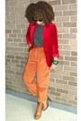 Carrot-orange-secondhand-pants-gray-xxi-top-tawny-bonibel-boots-brick-red-