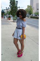 white Secondhand shorts - pink urban og shoes - H & M shirt - Liz Clairborne pur
