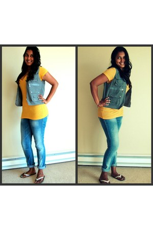 blue denim jeans - mustard mustard t-shirt - gray vest