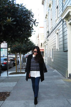 black Zara boots - black asos coat - navy Uniqlo jeans - black Zara sweatshirt