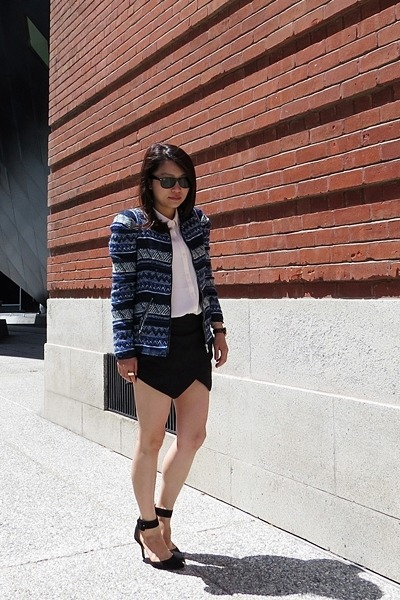 blue Zara jacket - black Zara shorts - dark brown ray-ban sunglasses