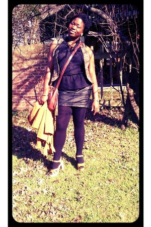 black tights - brown bag - vest - black lace blouse - camel clogs