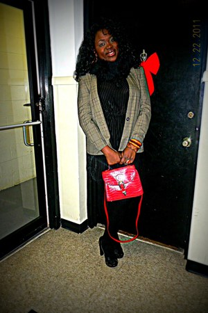 red leather bag bag - black I Heart Ronson dress - blazer - black scarf - clogs