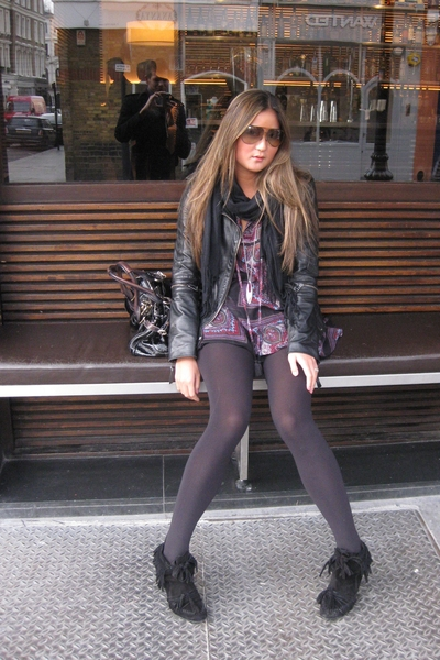 versace jacket - Zara top - Zara boots - Gucci sunglasses - Chloe purse - Topsho