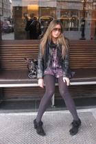 versace jacket - Zara top - Zara boots - Gucci sunglasses - Chloe purse - Topsho