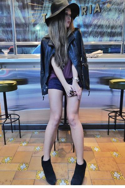 deep purple Maurie & Eve shorts - cheap mondays boots - black H&M hat
