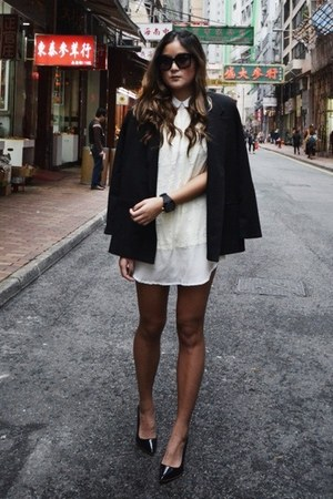 black Carin Wester blazer - white Maurie &amp; Eve dress - black Celine sunglasses