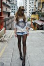 Sky-blue-one-teaspoon-shorts-black-zara-wedges-carin-wester-top
