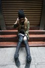 Black-top-shop-hat-olive-green-maison-skotch-jacket-black-aje-leggings