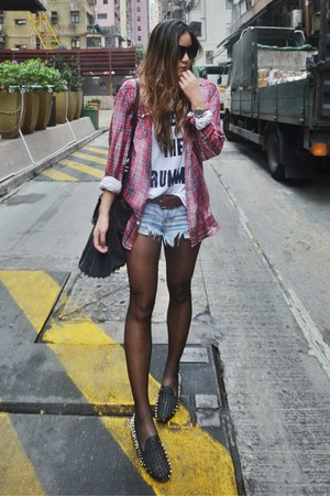 One Teaspoon shorts - Zara shirt - One Teaspoon belt - H&amp;M vest - UNIF loafers