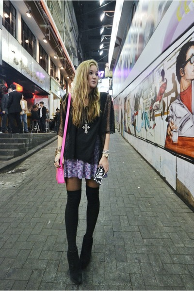 black Plush socks - hot pink Cambridge bag - black Cheap Monday wedges