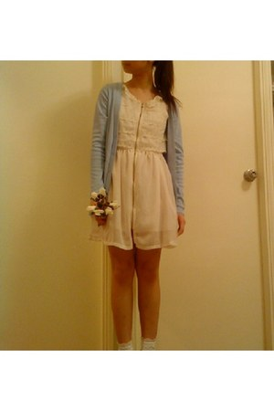 white dress - sky blue cardigan