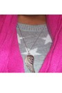 Pink-forever-21-scarf-blue-urban-behaviour-cardigan-gray-h-m-sweater-black