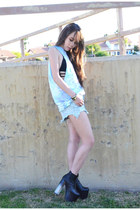 Lonely clothing co shirt - light blue UNIF shorts - black One Teaspoon swimwear