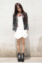black UNIF boots - black Zara jacket - neutral Bebaroque tights - Zara top