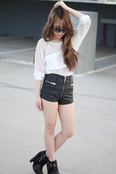 sam edelman boots - UNIF shorts - Nasty Gal top - Michael Kors glasses