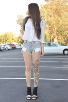 Bebaroque tights - Somedays Lovin shorts - black Nasty Gal heels