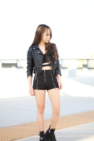 black Jeffrey Campbell boots - black Nasty Gal jacket - black Nasty Gal shorts