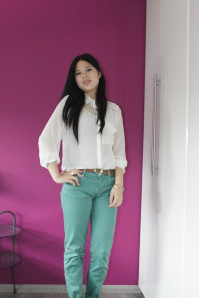 Zara jeans - H&amp;M blouse - H&amp;M necklace - braided Mango wedges
