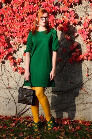 green Zara dress - yellow H&M tights - dark brown vintage bag