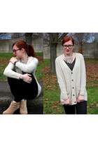 black Fossil watch - black studs Zara boots - beige H&M cardigan
