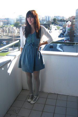 blue second hand dress - white second hand shoes - white H&M cardigan