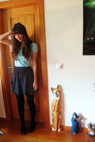 navy polka dotted thrifted skirt - sky blue H&M t-shirt - teal Zara flats