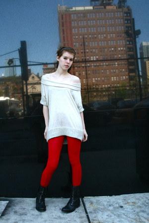 unknown leggings - Steve Madden boots - cowl American Rag shirt