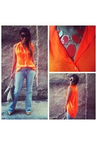 carrot orange neon top - tan bag - light blue flare jeans pants
