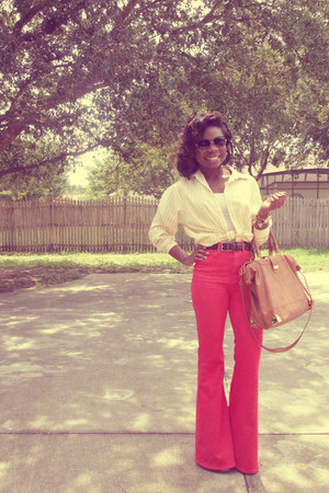 carrot orange pants - brown purse - cream t-shirt - yellow blouse