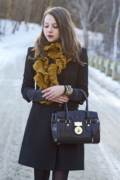 black Topshop boots - black bcbg max mara coat - mustard Anthropologie scarf