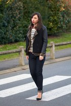 black H&M jacket - navy Hells Bells jeans - white Charles Tyrwhitt sweater
