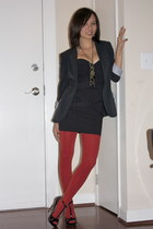 Colcci dress - Forever 21 blazer - Forever 21 tights - Aldo heels - bou-cou neck