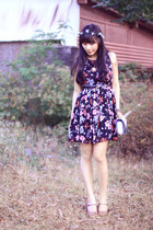 black floral Picnic dress - light blue Inspired By Luce accessories
