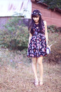 Black-floral-picnic-dress-light-blue-inspired-by-luce-accessories