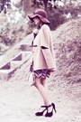 Camel-wool-sheinside-coat-mustard-picnic-dress-dark-brown-wool-vintage-hat