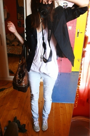 Zara jeans - boyfriends top - Agns b jacket - andr shoes - asos purse