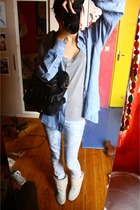 daddys blouse - etam top - Pull and Bear jeans - Urban Outfitters boots - asos p