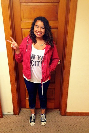 white NYC shirt - navy Forever 21 jeans - red JCPenney jacket