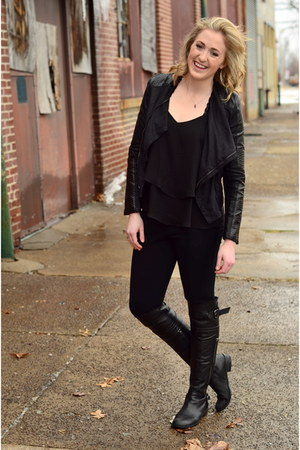 black leather Steve Madden boots - black leather jacket gianni bini jacket