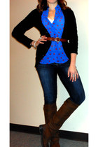 polka dot francescas top - leather Jeffrey Campbell boots