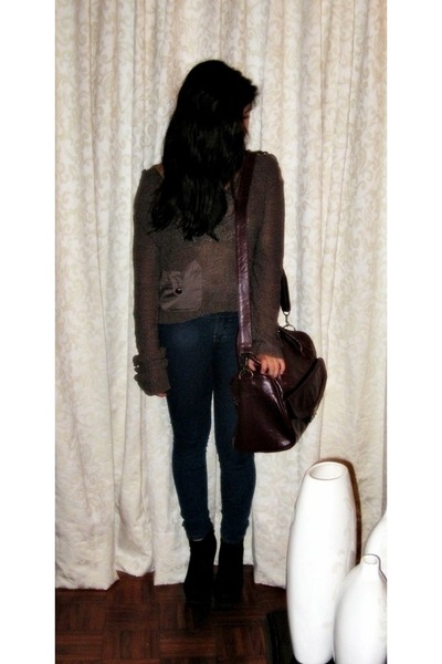 maroon Naf Naf bag - black michael antonio shoes - jeans