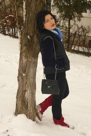 dark gray H&M stockings - red boots - navy denny rose jacket