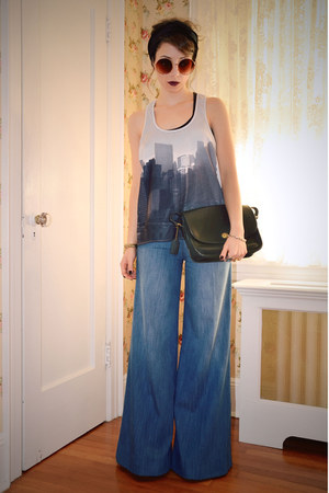 blue flared Anthropologie pants - black vintage Coach bag - white H&M top