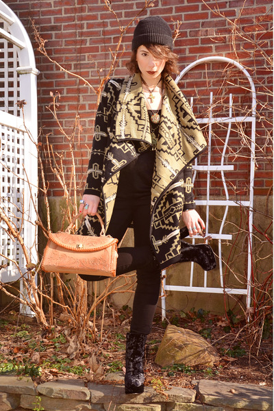 black Nordstrom sweater - black velvet fabric scrap boots - tan sdgf bag