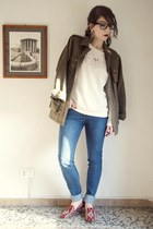olive green parka H&M jacket - blue madewell jeans - ivory Zara sweatshirt