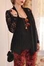 Black-velvet-asos-bag-brick-red-ebay-sunglasses-black-lace-inc-cardigan